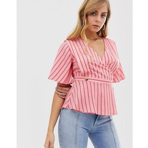 Boohoo wrap top in red and pink stripe with button detail - Pink