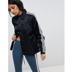 adidas Originals Three Stripe Windbreaker Jacket In Black - Black