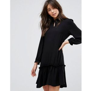 Only Woven Dress With Frill Hem - Black