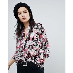 Soaked In Luxury Floral Flock Swing Blouse - Pink, 1 rozmiar