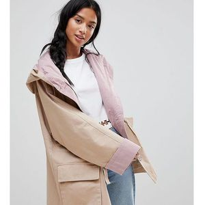 ASOS PETITE Waterfall Parka with Contrast Liner - Multi