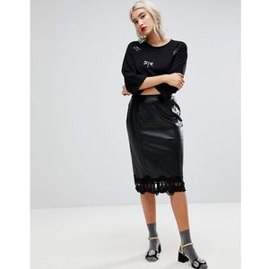 Lost ink pencil skirt in faux leather with lace trim - black