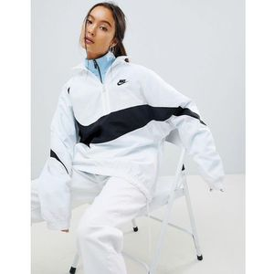Nike Vaporwave Oversized Half Zip Track Jacket In White With Large Swoosh - White, w 4 rozmiarach