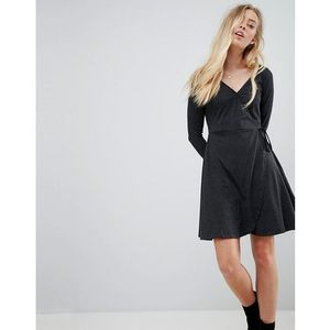 Brave Soul Wrap Jersey Dress - Grey, kolor szary