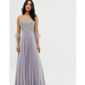 Forever Unique tulle layer maxidress - Grey, kolor szary