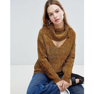 ribbed chunky roll neck jumper - brown, Qed london