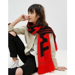 worded fan scarf with tassels - orange marki Asos