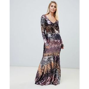 Club l v neck ombre fishtail maxi dress - multi, Club l london