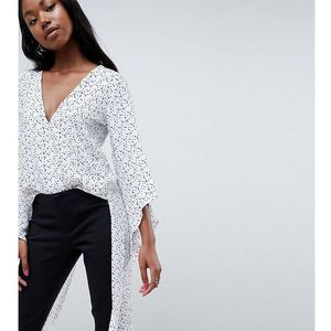 Parallel Lines Wrap Front Top With Maxi Back In Fine Spot Print - White, w 4 rozmiarach