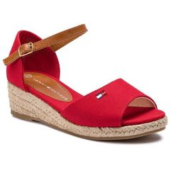 Espadryle TOMMY HILFIGER - Rope Wedge Sandal T3A2-30243-0547 Red 300, kolor czerwony