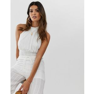Skylar rose halter top in linen co-ord - white