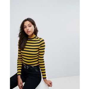 step neck striped long sleeve top with button detail - blue marki Esprit
