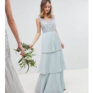 floral sequin top maxi bridesmaid dress with tiered ruffle pleated bridemaid skirt - blue marki Maya petite