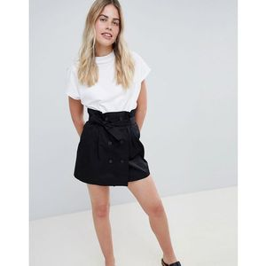 Bershka double breasted tie waist mini skirt in black - Blue, kolor niebieski