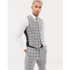 ASOS DESIGN skinny suit waistcoat in grey wool mix windowpane check - Grey