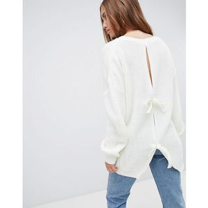 open back tie detail jumper - cream, Prettylittlething, 36-40