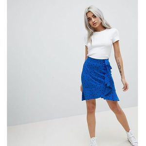ASOS PETITE Mini Wrap Skirt in Polka Dot Print - Blue, kolor niebieski
