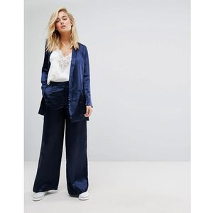 Moss copenhagen wide leg trousers in hammered satin co-ord - navy