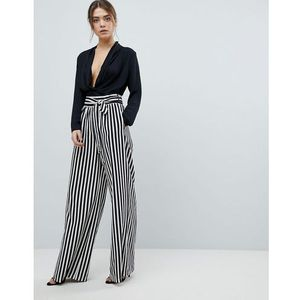 tie waist striped wide leg trousers - black marki Boohoo