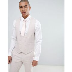 ASOS DESIGN Wedding Skinny Suit Waistcoat In Pink Wool Blend - Pink