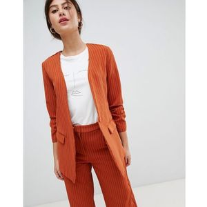 Vila pin stripe ruche sleeve tailored jacket - Orange