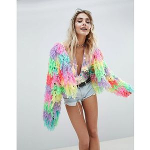 multi coloured shaggy cardigan - multi marki Prettylittlething