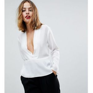 waisted plunge top - white, Asos petite