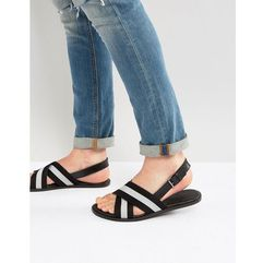 ASOS Sandals In Leather With Nylon Straps - Black, kolor czarny
