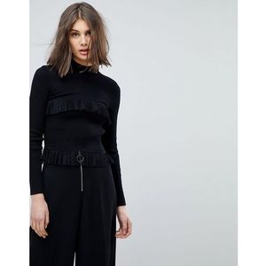 high neck jumper with rib & ruffle details - black marki Lost ink