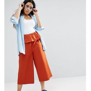 wide leg trouser with ruffle waist - red marki Asos curve