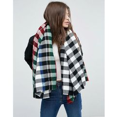 ASOS Blown Up Square Black Tartan Scarf - Black