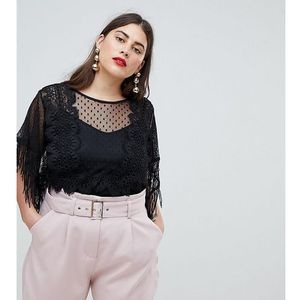 top with fringe sleeves in mixed lace - black marki Lost ink plus