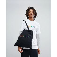 Asos design x glaad& tote bag with unity embroidery in black - black