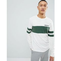 Abercrombie & Fitch Varsity Chest Stripe Lightweight Sweatshirt in White - White, kolor biały
