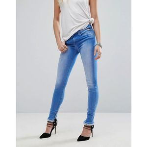 Replay joi high rise skinny jeans with zip and frayed hem - blue