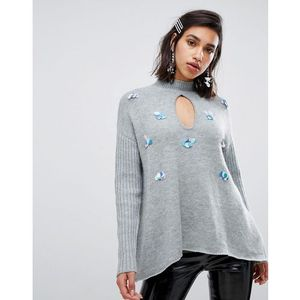 swing jumper with sequin embellishment in chunky knit - grey marki Lost ink