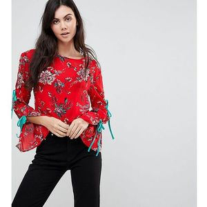 top with wide ribbon tie sleeves in floral - red marki Glamorous tall