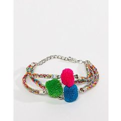 colourful woven pom multirow bracelet - multi marki Asos design