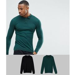 Asos design Asos 2 pack knitted muscle fit polo in green/black save - multi
