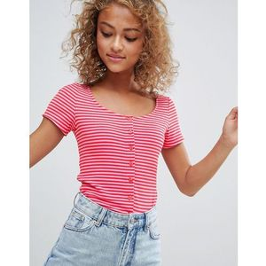 Monki Ribbed Stripe Crop Top - Multi