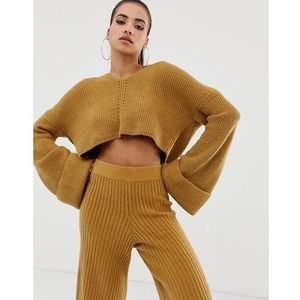 v neck cropped hooded jumper co-ord in camel - brown marki Missguided