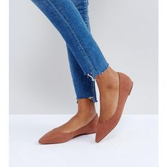 ASOS LATCH Wide Fit Pointed Ballet Flats - Brown, kolor brązowy