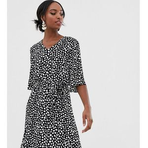 Y.A.S Tall tie waist mini dress in spot print - Navy, w 5 rozmiarach