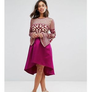 Maya petite allover embellished top midi dress with assymetric skirt - pink