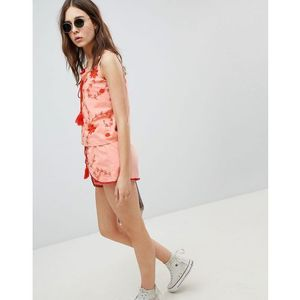 shorts with wrap front in contrast embroidery co-ord - pink marki Glamorous