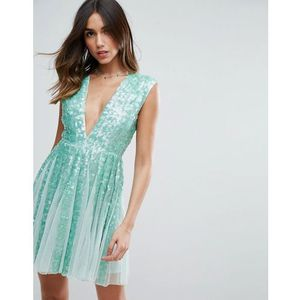 ASOS SALON Mint Sequin Panelled Fit and Flare Mini Dress - Green, kolor zielony