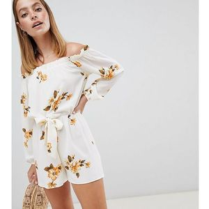 Miss selfridge petite off the shoulder playsuit with tie waist in floral print - multi