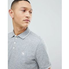 stretch core moose logo tipped slim fit polo in grey - grey marki Abercrombie & fitch