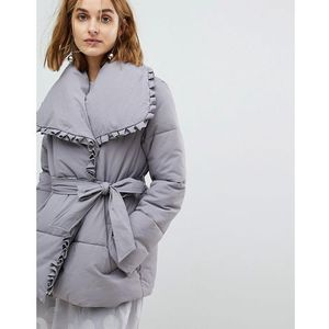 wrap front padded coat with shawl collar - grey, Lost ink