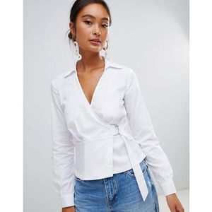 Miss Selfridge wrap front shirt with d-ring detail in white - White